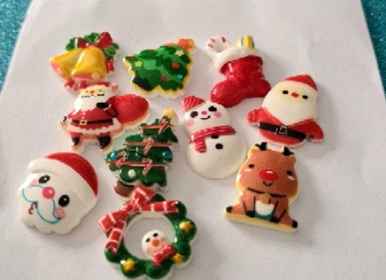 Resin Christmas Cabochons - Mixed