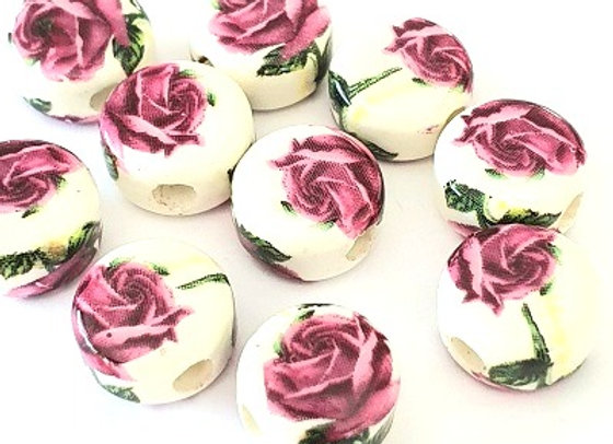 Porcelain Rounds Rose 1 - x10pc