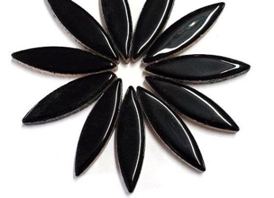 *New - Large Ceramic Petals - Black x12
