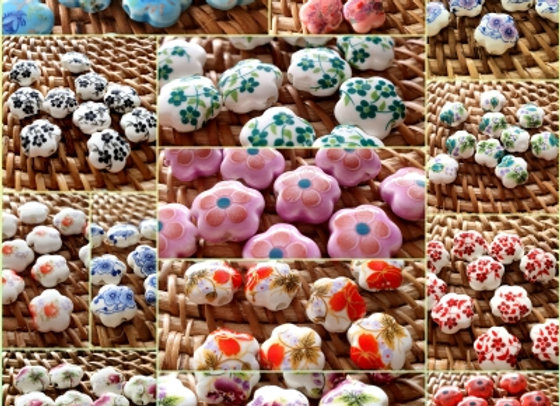 Porcelain Beads - Flower More colours for choice,  x10pc