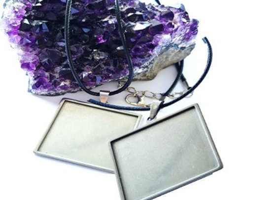 Stainless Steel Square Pendant Case with Cord - 2pc