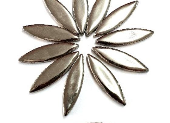 *New - Large Ceramic Petals - Silver Metallic x12