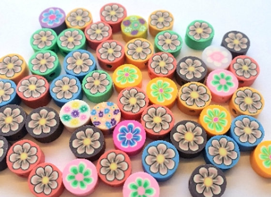 Polymer Clay Coin Beads - 35pc - Mixed