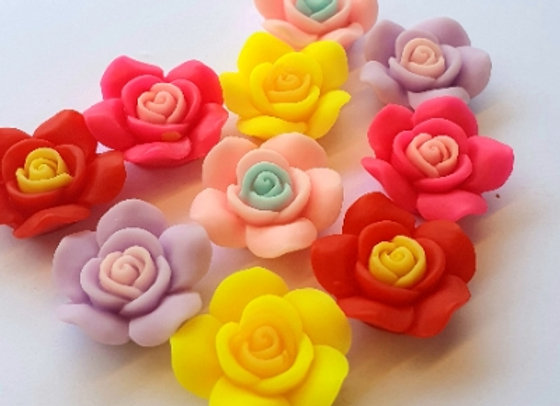 Resin Flowers 22x27x8mm 10pc - Mixed