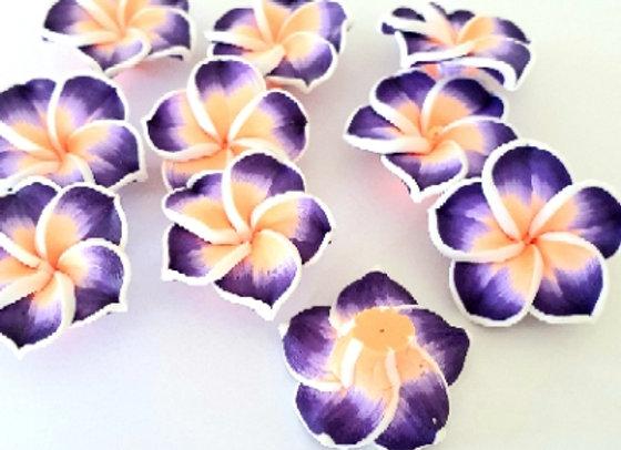 Polymar Clay Frangipanis Purple x 10pc