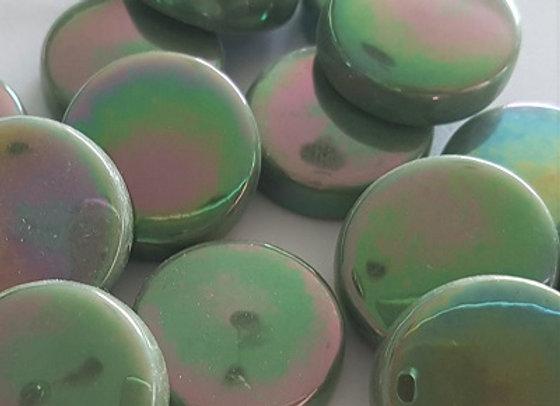 Glass Smarties Iridised  - 20 mm Olive