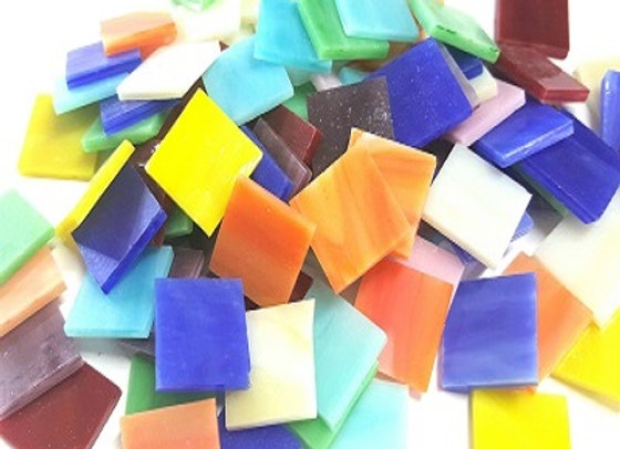 1 Kg Glass Stained Glass Opaque Squares - 20x20mm - Mixed