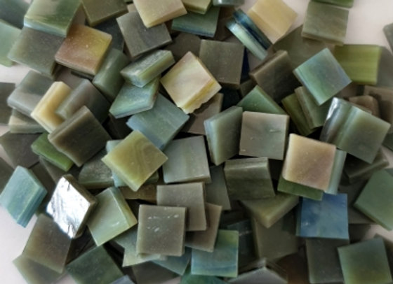 Stained Glass Opaque Squares - 10x10mm - Sage Green