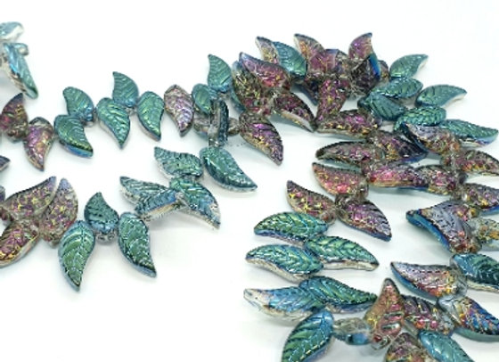 Crystal Leaves - Color plated 8x18x5mm - Earth x50pc