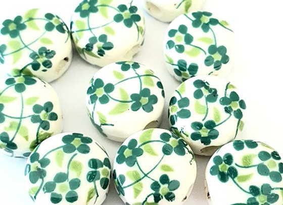 Porcelain Rounds Green Daisy x10pc