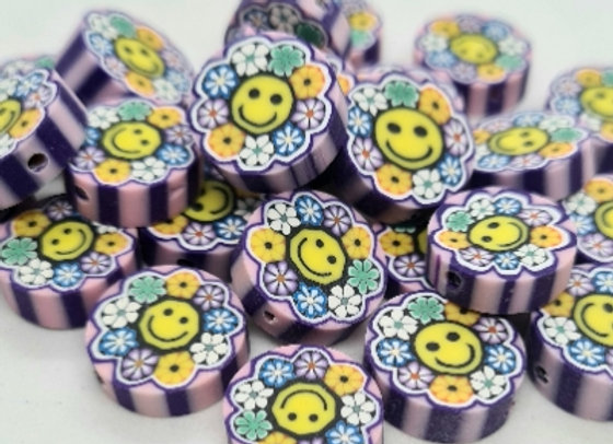 Polymer Clay Coin Beads - 25pc - Smiley Face