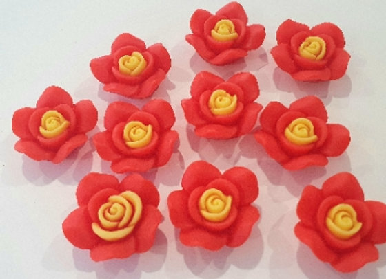 Resin Flowers 22x27x8mm 10pc - Red