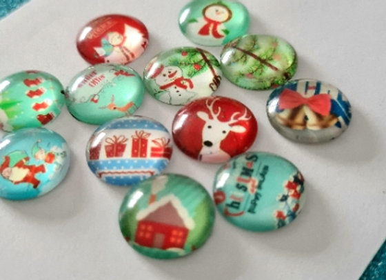 12mm Glass Christmas Cabochons - Mixed