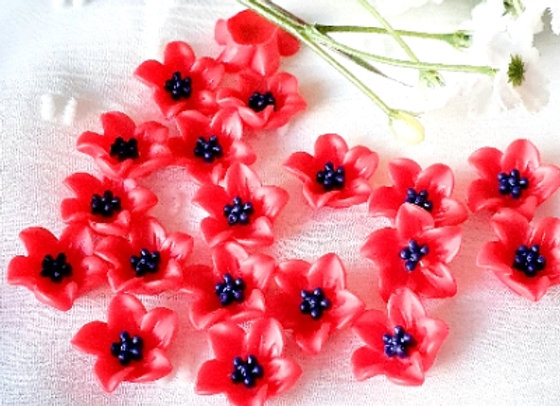 Flower Resin Cabochon 13mm - 15pc Red