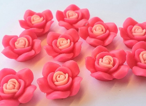 Resin Flowers 22x27x8mm 10pc - Hot Pink