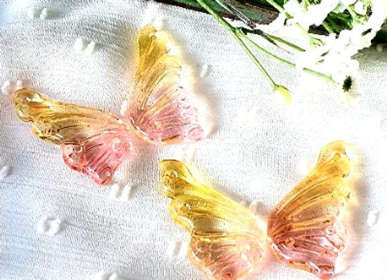 Glass Butterflies 18x38mm - 2 Pair -Pink Tint