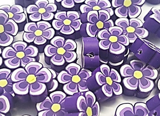 Polymar Clay Flower Rounds (12x12mm) Purple x 25pc