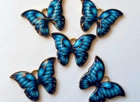 Small Enamel Butterflies Blue x10pc