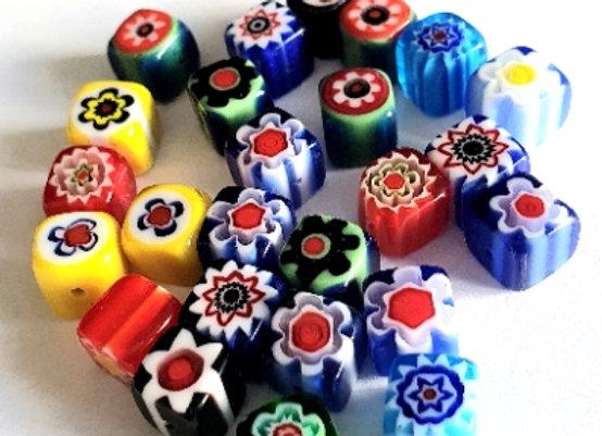 Glass Millefiori Cubes 8mm - 25pcs