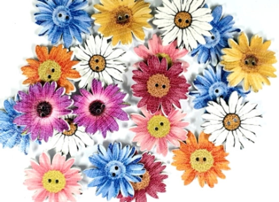 Wood Flower - Embellishments Mixed x 20 pieces