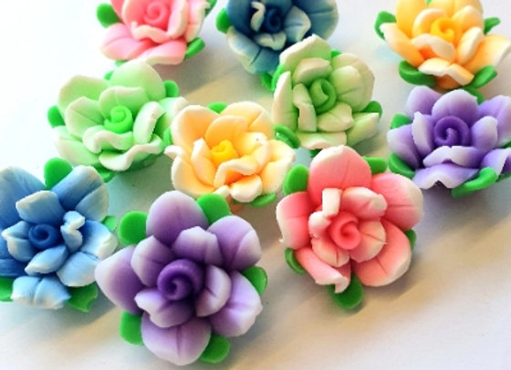Polymer Clay Flowers 15x8mm- 10pc - Mixed