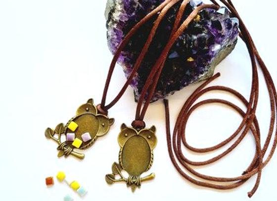 Antique Brass Owl Pendant Case with velvet cord - 2pc