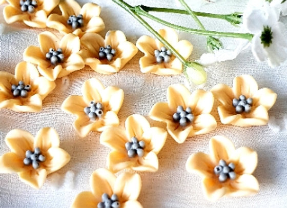 Flower Resin Cabochon 13mm - 15pc  Honey