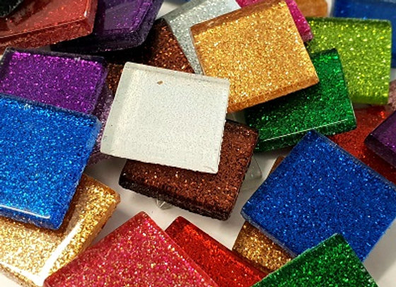 1Kg Glitter Glass Squares (23x23mm) Mixed