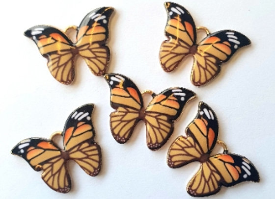Small Enamel Butterflies Monach x10pc