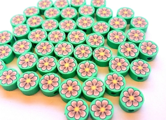 Polymer Clay Coin Beads - 35pc - Green