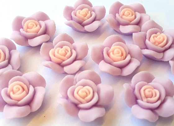Resin Flowers 22x27x8mm 10pc - Lilac