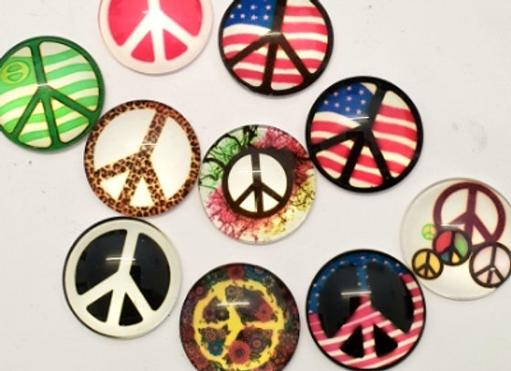 Round Glass Cabochons - Peace Signs x 10