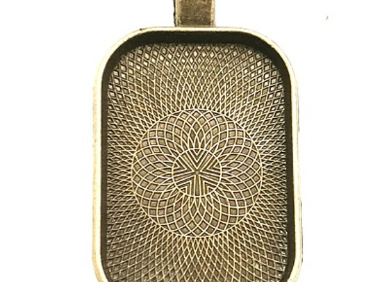 Antique Brass Rectangle Pendant Case