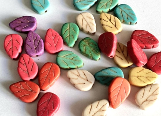 Porcelain Small Leaves - Mixed - 28pc