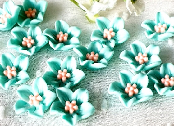 Flower Resin Cabochon 13mm - 15pc Pale Teal