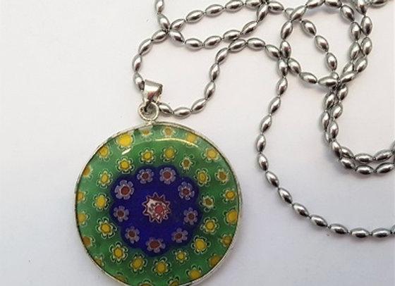 Round Millefiori Pendant with Chain