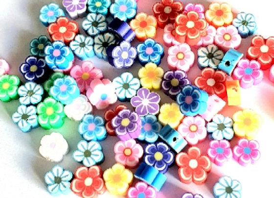 Flower Polymer Clay Flowers 10mm - 50pc  Mixed