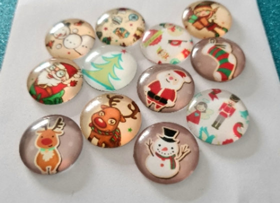 20mm Glass Christmas Cabochons - Mixed