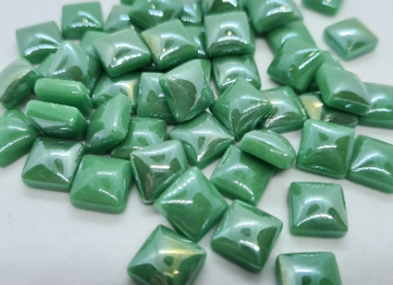 Glass Pearlies 10x10mm -  Cool Green