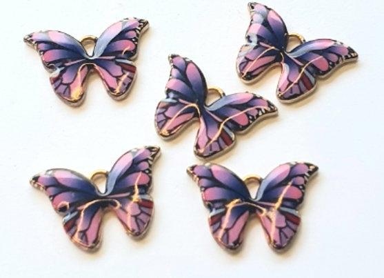 Small Enamel Butterflies Purple x10pc