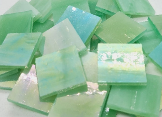 Stained Glass Squares 20x20x3mm Iridised Pale Green