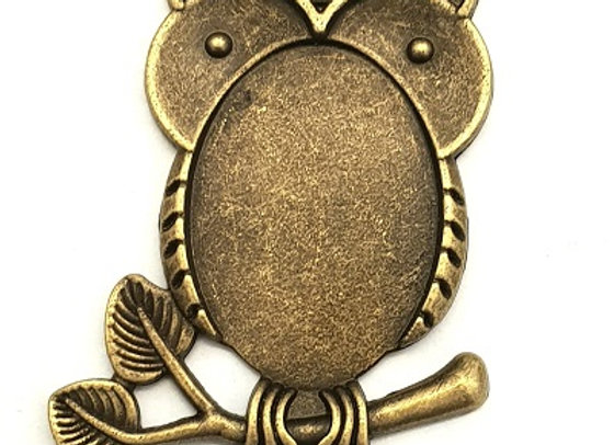 Antique Brass Owl Pendant Case