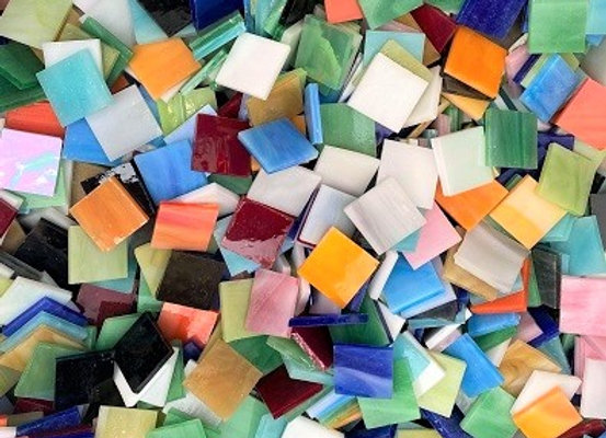 1 Kg Glass Stained Glass Opaque & Iridised Squares - 20x20mm - Mixed