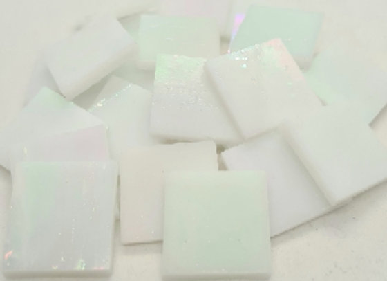 Stained Glass Squares 20x20x3mm - Opal Iridised
