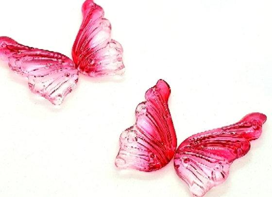Glass Butterflies 18x38mm - 2 Pair - Rose Blush