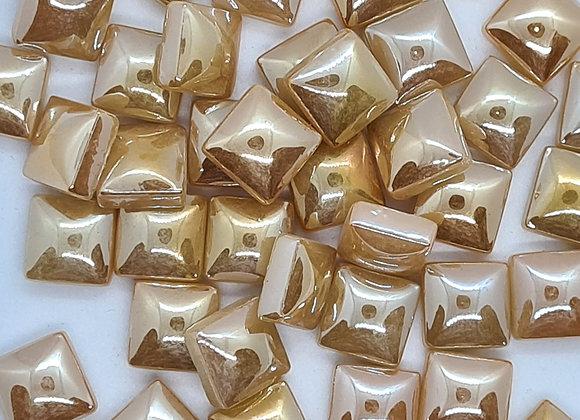 Glass Pearlies 10x10mm -  Vanilla