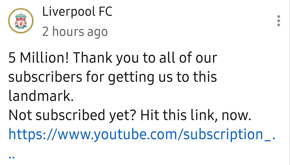Liverpool FC reaching 5 Million Subscribers on their YouTube Channel (Credit: LFC/ YouTube).
