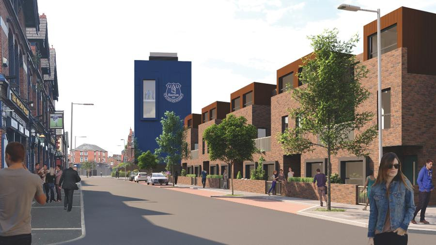 Projections of high rise and low rise affordable housing replacing Goodison Park Stadium after the move to Bramley-Moore Dock in The Vauxhall District (Credit: Everton FC).