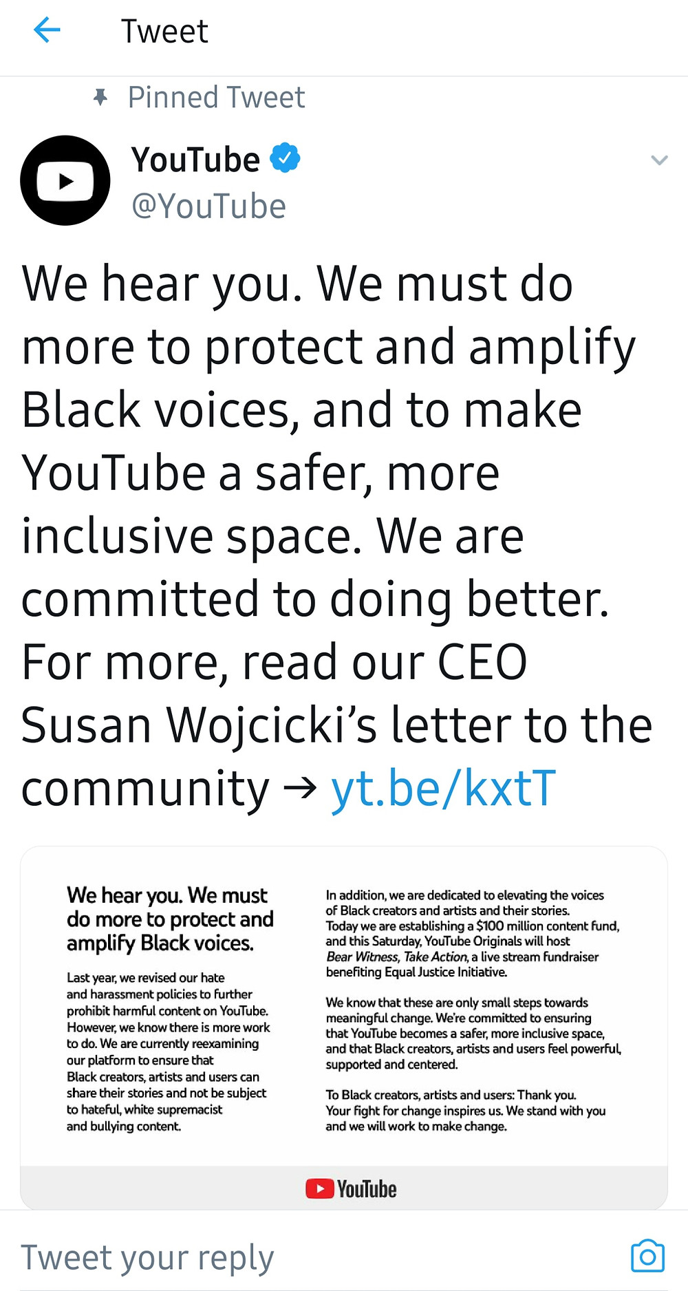 YouTube's Pinned Tweet in support of the powerful Black Lives Matter movement (Credit: Twitter).