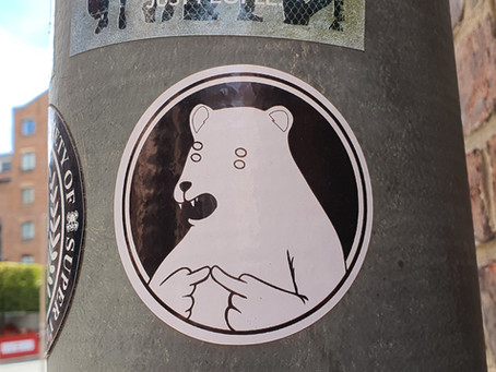 Lamp Post Stickers In Campbell Square, Ropewalks By Local Artists & Creatives